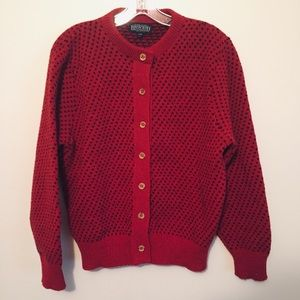 Lands End button up wool polka dot sweater